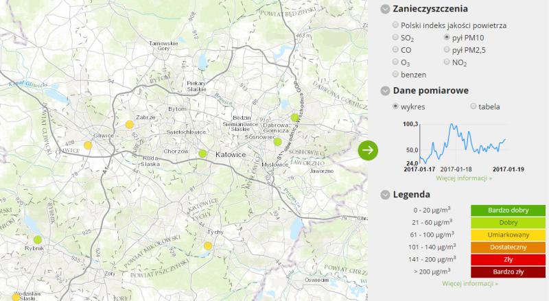 Jakość powietrza w Katowicach (godz. 14)