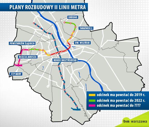 Plany rozbudowy II linii metra tvn24.pl
