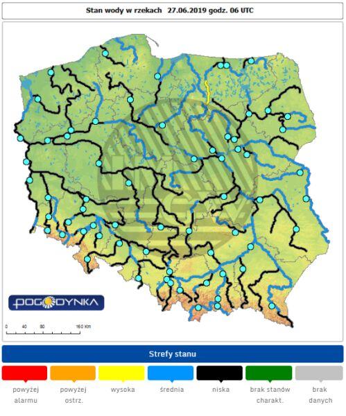 Stan wody w rzekach 27.06.19 (IMGW)