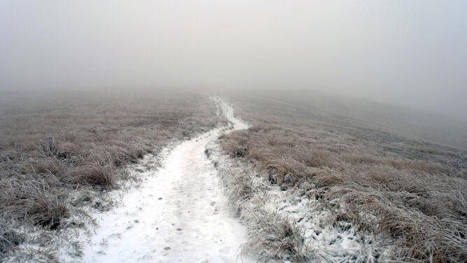 Mgła i śliskie szlaki. Niebezpieczne warunki w Bieszczadach