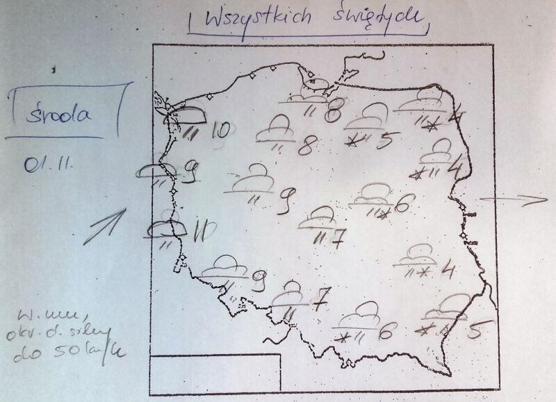 Prognoza pogody na 1 listopada