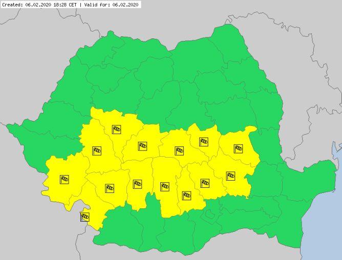 Ostrzeżenia meteorologiczne dla Rumunii (meteoalarm.eu)